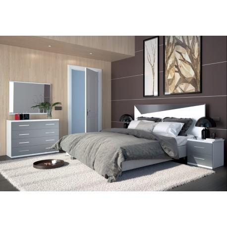 Dormitorio Milan blanco-gris